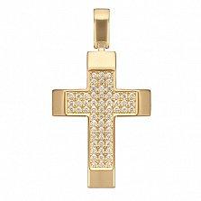 Крестик в желтом золоте Мудрость с фианитами