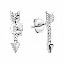 Серебряные серьги-пуссеты Стрелы с фианитами