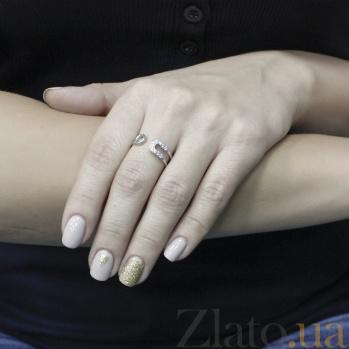 Серебряное кольцо Загадка с разомкнутой шинкой в виде булавки и цирконием 000096571