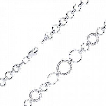 Срібний браслет з фіанітами 000129898