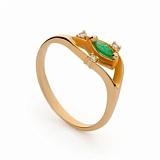 Золотое кольцо с изумрудом и бриллиантами Дезире