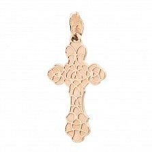 Золотой крестик София с фианитами и белой эмалью