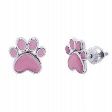 Серебряные серьги-пуссеты Лапка с розовой эмалью,8х8 мм