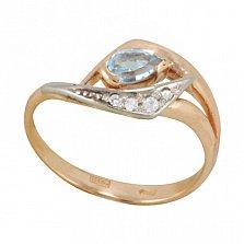 Золотое кольцо Весенняя капель с голубым топазом и фианитами