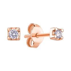 Серьги-пуссеты из красного золота с бриллиантом 000145576