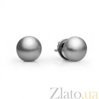 Золотые серьги с серым жемчугом Динара SG--11411403