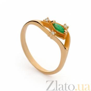 Золотое кольцо с изумрудом и бриллиантами Дезире 000030313
