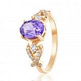 Золотое кольцо Марианна с корундом александрита и фианитами