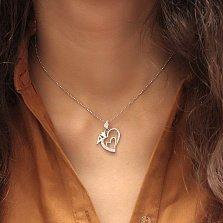 Серебряный кулон-сердце Крылья королевской любви с белым цирконием