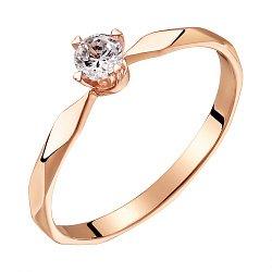 Кольцо из красного золота с бриллиантом, 0,2ct 000034678