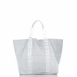 Кожаная сумка на каждый день Genuine Leather 8252-1 белого цвета с накладным карманом