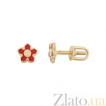 Золотые  серьги с эмалью Бесси 2С220-0424