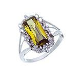 Серебряное кольцо с оливковым куб. цирконием Энергия солнца