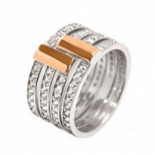 Серебряное кольцо с цирконием и золотой вставкой Жоселин