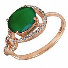 Кольцо в красном золоте Диана с хризопразом и фианитами