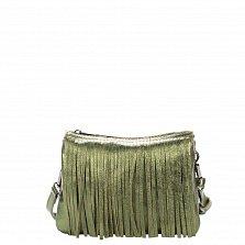 Кожаный клатч Genuine Leather 1612 зеленого цвета с бахромой и застежкой-молнией