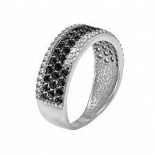 Серебряное кольцо Селин с черными и белыми фианитами