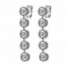 Пуссеты-подвески из белого золота Риола с дорожками из пяти завальцованных бриллиантов