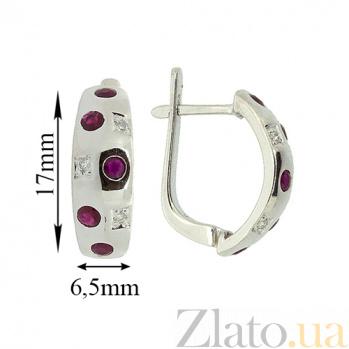 Серебряные серьги с бриллиантами и рубинами Мosaic ZMX--EDR-6136-Ag_K