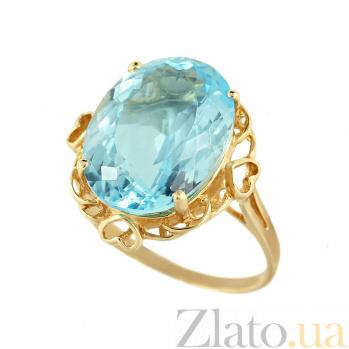 Кольцо из желтого золота с топазом Акватория 000032282