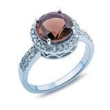 Кольцо серебряное с раухтопазом и цирконами Колумбина