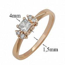 Золотое кольцо Авалайн в красном цвете с бриллиантами