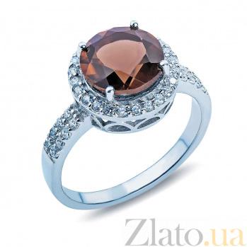 Кольцо серебряное с раухтопазом и цирконами Колумбина AQA--R01560RT