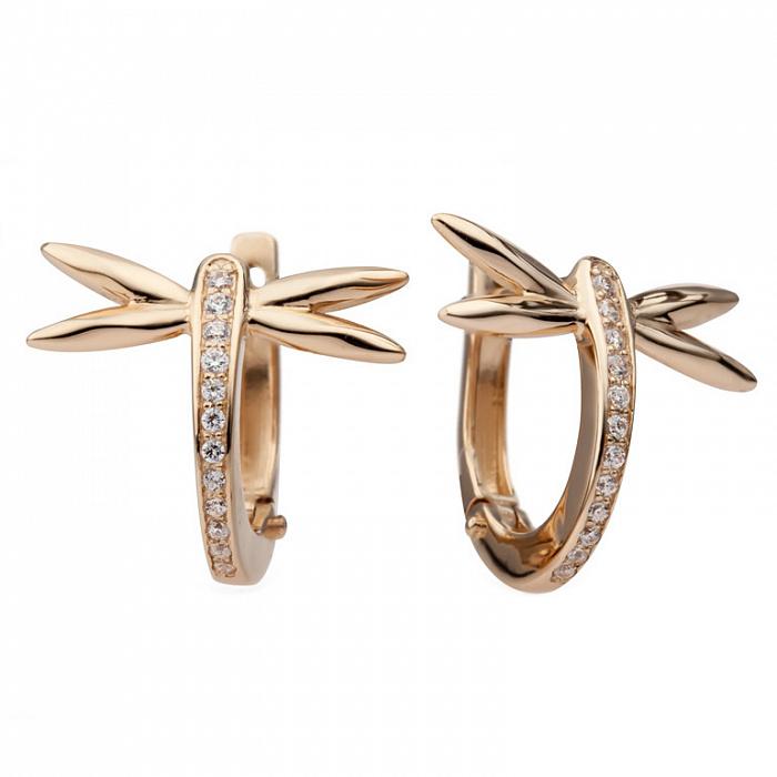 Золотые серьги с цирконием Стрекозы 000030633