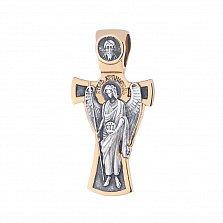Серебряный крестик Ангел с позолотой