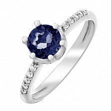 Серебряное кольцо Лола с гидротермальным сапфиром и цирконием