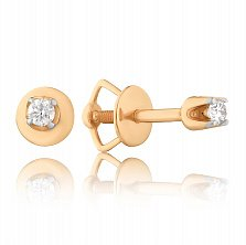 Золотые серьги-пуссеты Матрея в красном цвете с бриллиантами