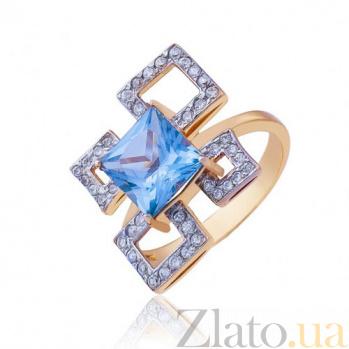 Золотое кольцо  с синим цирконием Геометрия EDM--КД0348Г