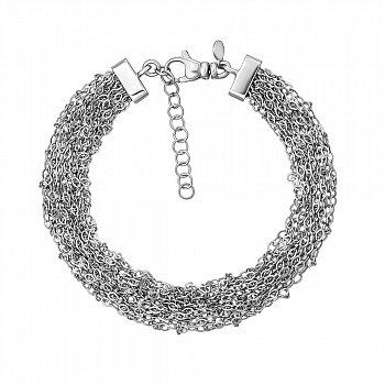 Многослойный серебряный браслет в якорном плетении 000131686