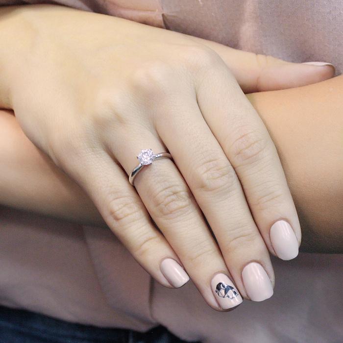 Помолвочное кольцо из белого золота Лучи света с кристаллом Swarovski 000036631