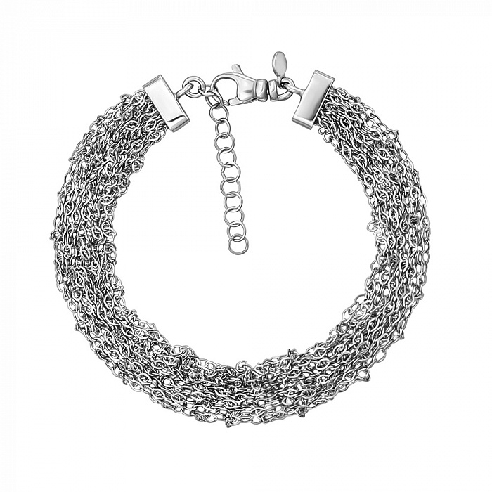 Многослойный серебряный браслет в якорном плетении 000131686 000131686