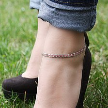 Серебряный браслет на ногу с чернением Мирена с малиновым цирконием
