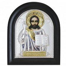 Икона на деревянной основе Спаситель с позолотой и эмалью,11х13