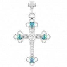 Серебряный крестик Мери с опалом микс и фианитами