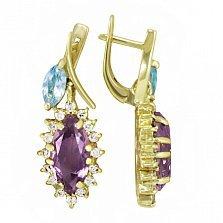Золотые серьги Королева капели с синтезированными аметистами, голубыми топазами и фианитами