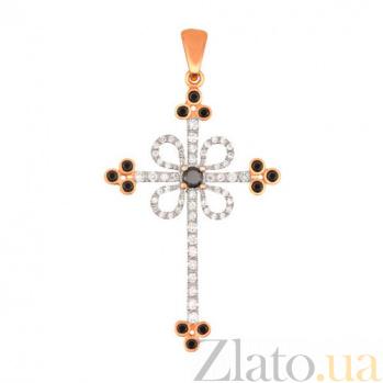 Золотой крестик с черными и белыми фианитами Любовь VLT--ТТ3355-5