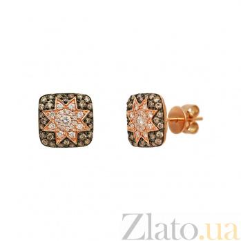 Серьги-пуссеты из красного золота Звезда эльфов с коньячными и белыми бриллиантами 000081265