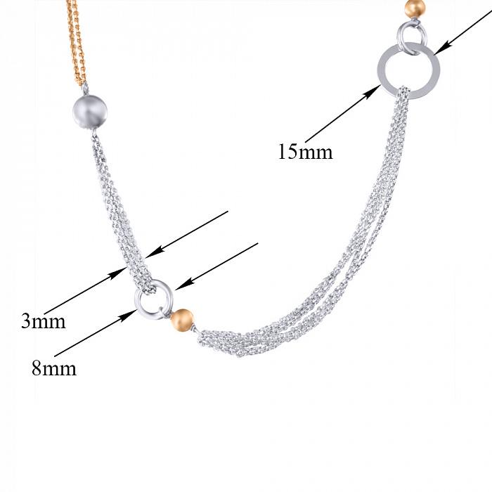 Серебряное родированное колье Фантазия с разноформатными звеньями 000079038