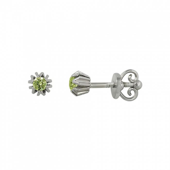 Серебряные серьги-пуссеты Ханни с оливковым цирконием 000081822