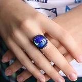 Серебряное кольцо с имитацией опала Лазурь