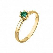 Помолвочное кольцо Филипинка из желтого золота с изумрудом
