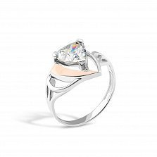 Серебряное кольцо Паола с золотой накладкой и кристаллом циркония