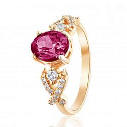 Золотое кольцо Марианна с корундом рубина и фианитами 000056986