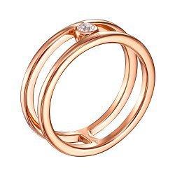 Кольцо из красного золота с цирконием 000139786