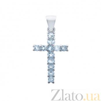 Серебряный крест с топазами  AQA--P00522T