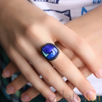 Серебряное кольцо с имитацией опала Лазурь 000007020